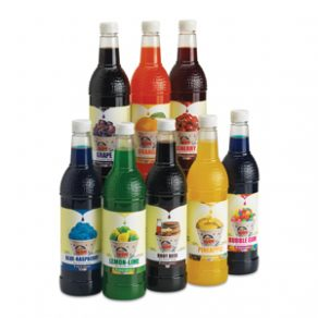 bottles of snow cone syrup
